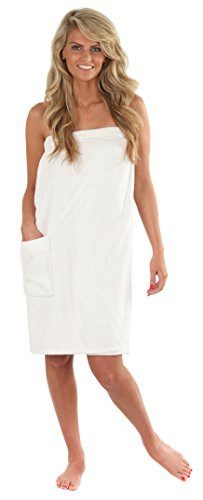 VEAMI Women's Spa Wrap Towel with Snap Closure -Mirage White-X-Large/XX-Large