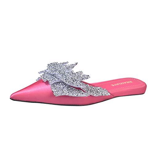 Anxinke Women Fashion Rhinestone Pointed Toe Leather Flat Mules (US:.6.5, Hot Pink) ()