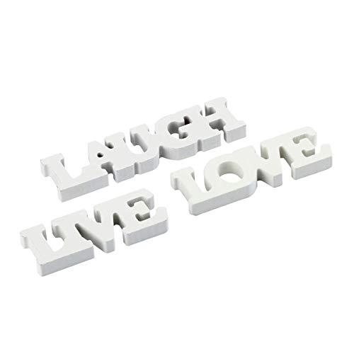 BinaryABC Live Love Laugh Wooden Letters,Engagement Wedding Party Decorations,3Pcs(White)