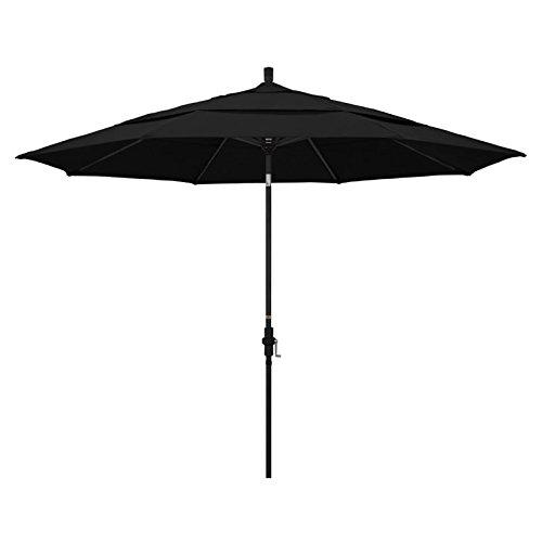 California Umbrella 11' Round Aluminum Market Umbrella, Crank Lift, Collar Tilt, Black Pole, Sunbrella Black
