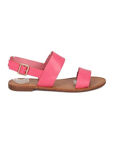 Breckelles Kvinnor Slingback Flat Sandal - Tillfällig, Vardagsrum, Sommar - Öppen Tå Sandal - Gg21 Av Pink