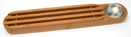 Lipper International 8241 Bamboo Wood Bread Serving Board with Dipping Cup, 22.75