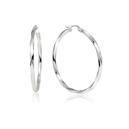 Sterling Silver Small Twist - LOVVE Sterling Silver High Polished Twist Round Click-Top Hoop Earrings, 2x40mm