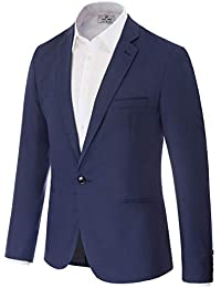 aafcf4f77 Men's Slim Fit One Button Blazer Jacket Casual Suit Jacket