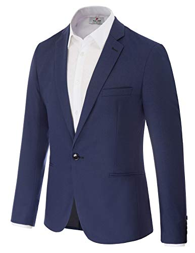 - Men's One Button Blazer Jacket Party Suit Blazer Size M Navy Blue