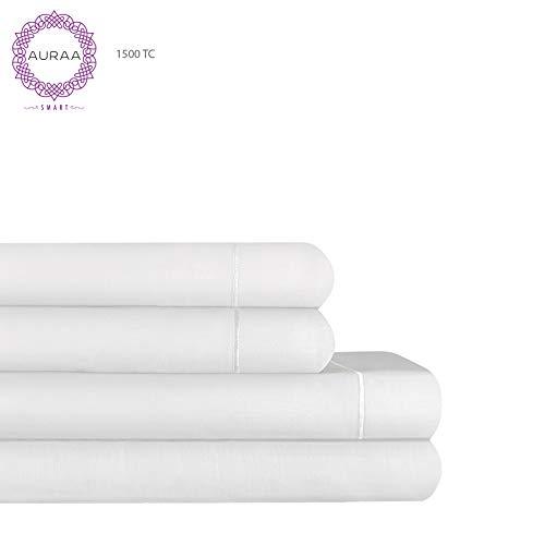 AURAA Smart 1500 Thread Count Cotton Rich, 4 Piece Sheet Set