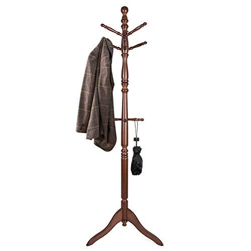 Vlush Free Standing Coat Rack, Wooden Coat Hat Tree Coat Hanger Holder Coat Hook Entryway Hall Tree with Solid Rubber Wood Base, 10 Hooks, Coffee