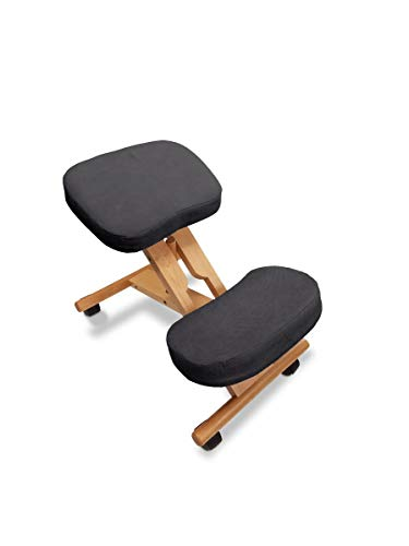Ergonomic Kneeling Chair-Premium Artisan Design by Healthy Back. Variable Angle for Improved Back and Posture Support - Solid Wood with Breathable Fabric (Black) Home, Work, Office Posture Chair