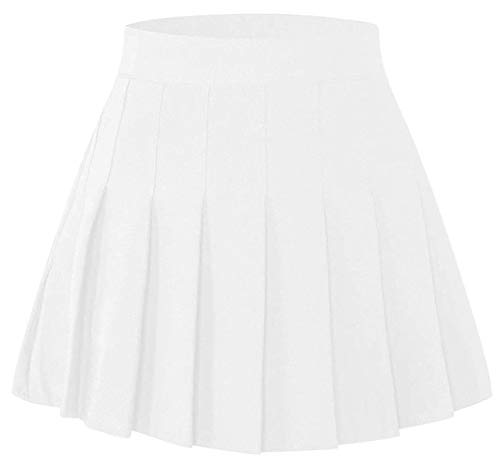SANGTREE Junior Teen Girls Womens High Waist School Uniform Cosplay Costume Pleated Short Skirt, Cream White Tag XL = US L