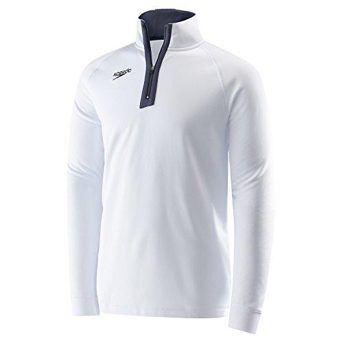 Speedo Unisex 3/4 Zip Pull Over Warm Up Jacket, Small, White