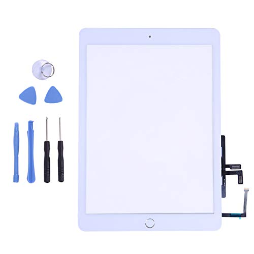 Touch Screen Digitizer for 2017 iPad 9.7 - Front Glass Replacement with Home Button & Tool Repair Kit (A1822, A1823) - White ()