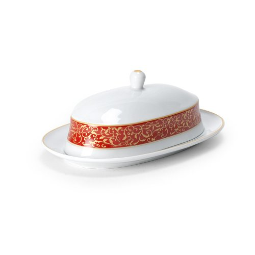 Mikasa Parchment Rouge Covered Butter Dish