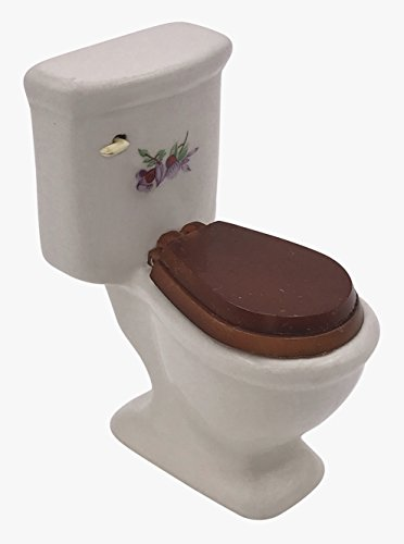 Toilet Dollhouse - White Ceramic Dollhouse Toilet with Wooden Toilet Seat and Decorative Floral Decal 1:12 Scale