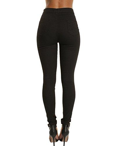 a Noir Slim Taille Trou Mince Blanc Haute Pantalon Bleu trou Jeans Femme Noir q7wTZ00