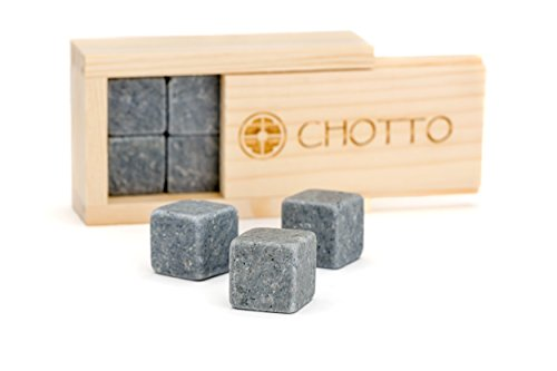 Whiskey Stones Gift Set, CHOTTO 100 Percent Natural Soapstone Ice Cubes, Chilling Rocks (set of 8, FDA Approved)
