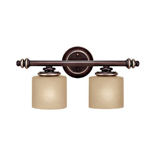 Capital Lighting 1132CZ-296 Park Place 2-Light Vanity Fixture, Champagne Bronze with Champagne Glass