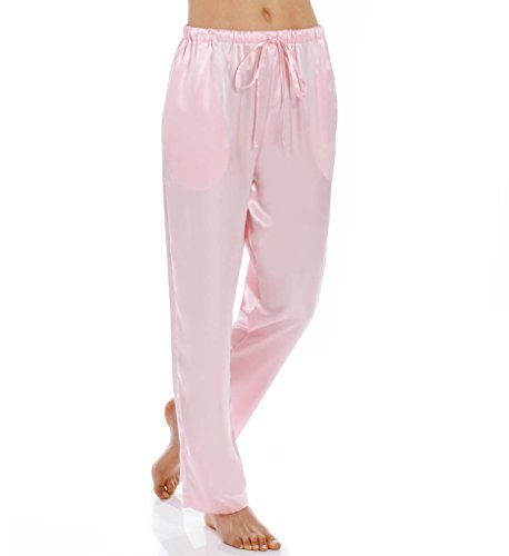 Shadowline Charmeuse Sleep Pant (4500), Pink, (Silk Charmeuse Pants)