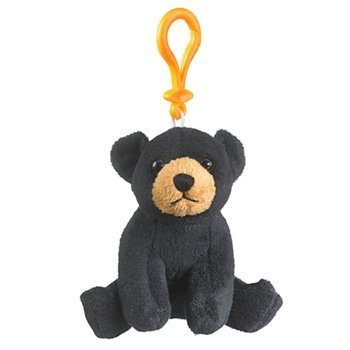 Black Bear Stuffed Animal Backpack Clip Toy Keychain WildLife, 4 Inches