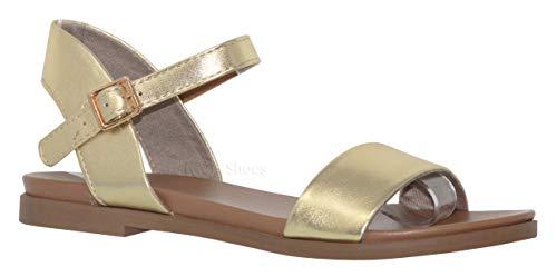 - MVE Shoes Women's Stylish Simple Single Strap Adjustable Ankle Buckle Open Toe Flat Sandal, Meadow Gold 8.5