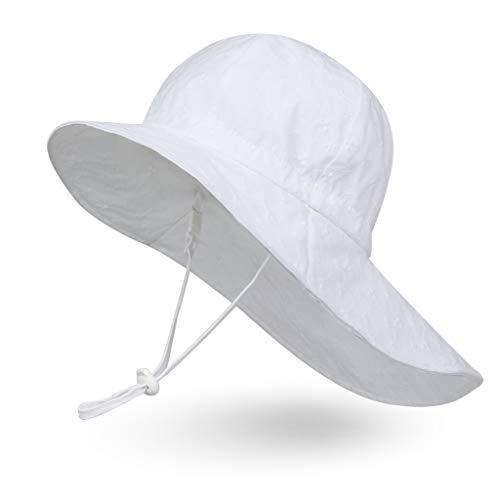 Ami&Li Baby Kids Summer Flap Cover Cap Cotton Anti-UV UPF 50+ Sun Hat - S: White Embroidery