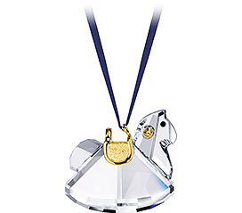- Swarovski Crystal Rocking Horse Ornament-Gold Plated