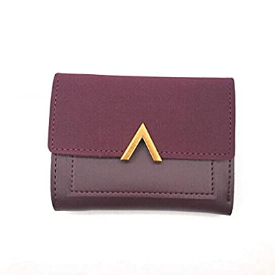 Matte Leather Small Women Wallet Luxury Purse Short Female Coin Bag Card Holder (Color - Wine Red)