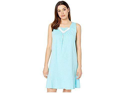 Carole Hochman Women's Sleeveless Short Gown Aqua Dot Large Carole Hochman Cotton Nightgown