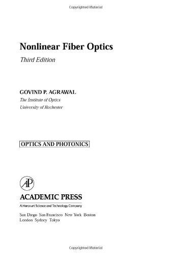 Nonlinear Fiber Optics, 3/e-cover
