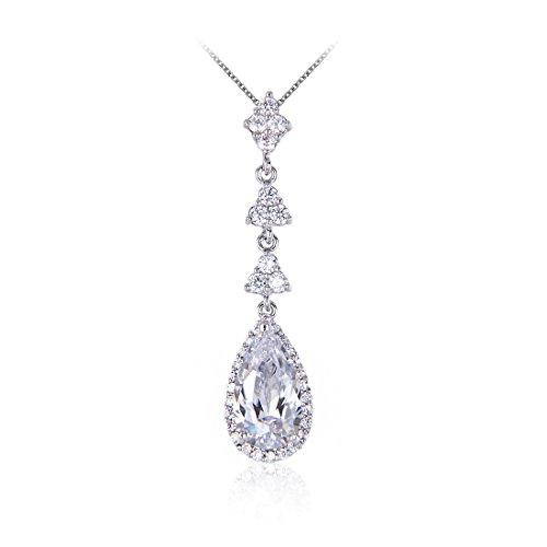 Wordless Love Teardrop Pear Shape CZ Women Bridal Necklace and Pierced Earring Jewelry Sets by Wordless Love (Image #3)