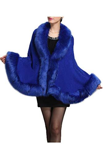 Hiver Manteaux Chale Cape Cardigan Capuche Femme Fourrure Blue Faux Luxe TUpFqnfW