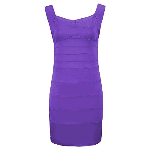 Avacostume Des Femmes De Classe De Dos Nu Col V Robes De Bandage Maigre Violet