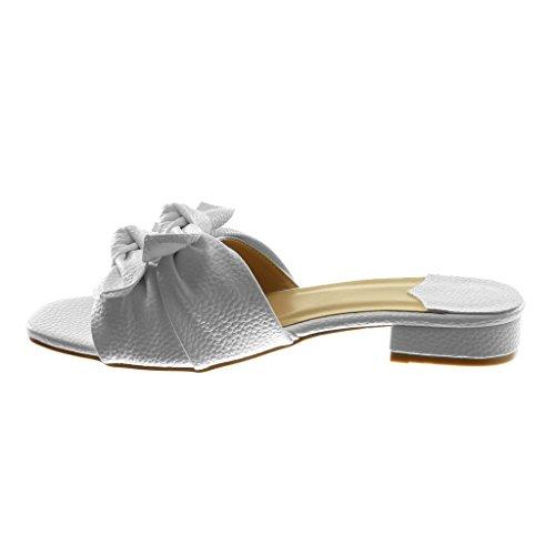 Angkorly Damen Schuhe Sandalen Mule - Slip-On - Knoten - genarbtem Blockabsatz 3 cm Weiß