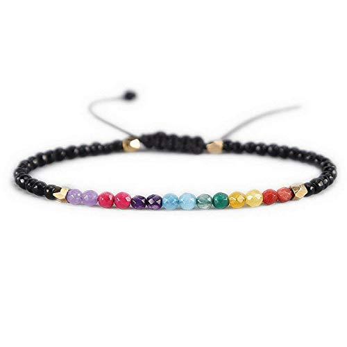 MengPa Crystal Beaded Bracelet Bohemian Lucky Simple Braided Rope Jewelry  3mm