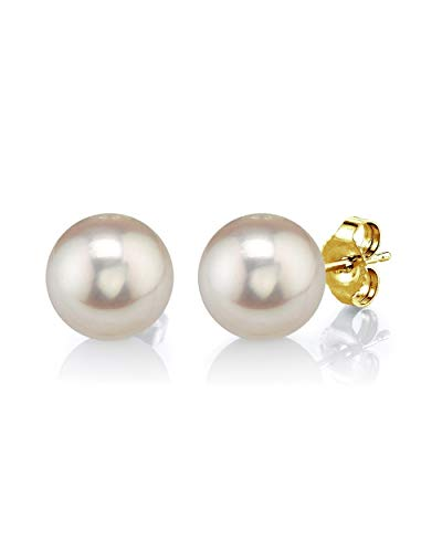 THE PEARL SOURCE 14K Gold 8-9mm Round White Freshwater Cultured Pearl Stud Earrings for Women ()
