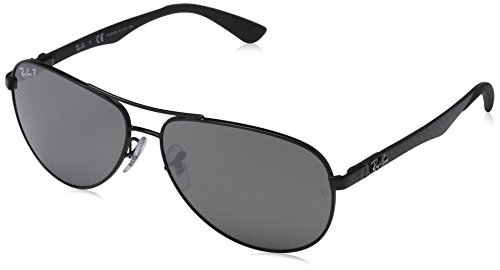 Carbon Fiber Ray - Ray-Ban Men's RB8313 Aviator Carbon Fiber Sunglasses, Shiny Black/Polarized Grey Mirror, 58 mm