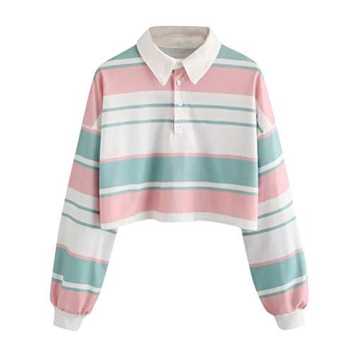 Hatop Women Long Sleeve Drop Shoulder Striped Crop Pullover Sweatshirt Top Blouse Sport Coat (Multicolor, XL) by Hatop
