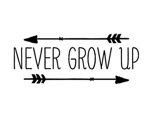 Creative Concept Ideas Never Grow Up Arrows Neverland CCI Decal Vinyl Sticker|Cars Trucks Vans Walls Laptop|Black|7.5 x 3.0 in|CCI2235