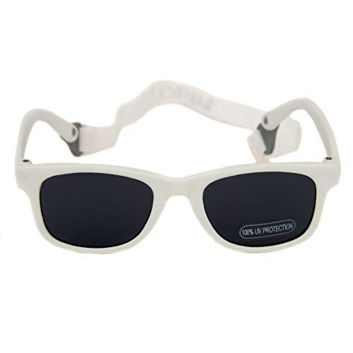 Baby Solo Babyfarer Baby Sunglasses Safe, Soft, Adjustable and Adorable 0-24 Months (0-24 months, Matte White Frame w/Solid Black Lens) (Baby Banz Sonnenbrille)