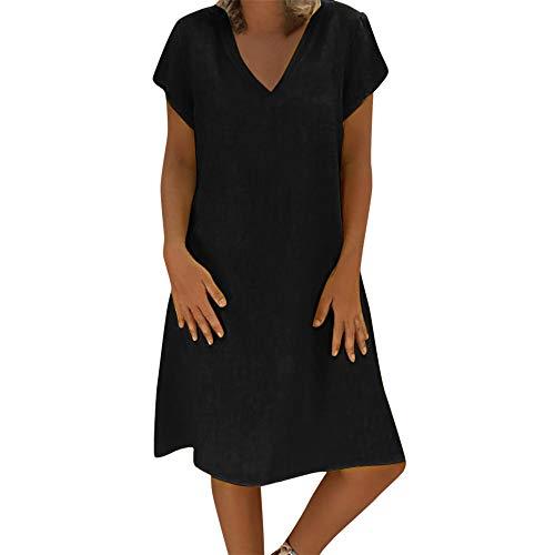 Xiarookp Sexy Short Sleeve Dress Women Lady V Neck Solid Color Beach Dress T-Shirt Cotton Dress Black ()