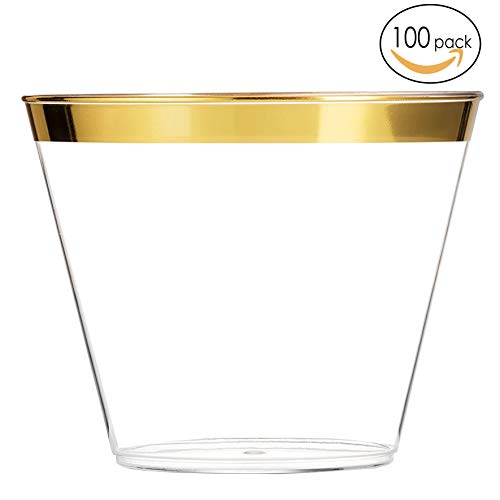 - EcoEarth Gold Plastic Cups 9 oz (100 Pack) /Clear Plastic Party Cups/Wedding Cups/Gold Rimmed Plastic Cups/Gold Party Cups/Gold Rim Plastic Cups/Gold Disposable Cups/Disposable Party Cups
