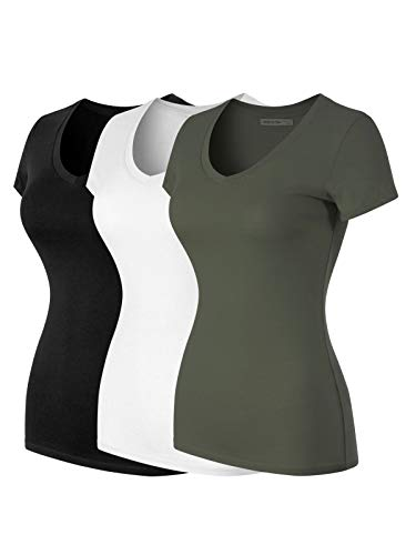 - Design by Olivia Women's Basic Solid Multi Colors Fitted Short Sleeve T-Shirt [S-3XL] 3PACK - Black/White/Olive XL