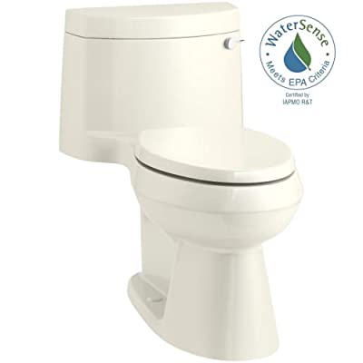 KOHLER Cimarron Comfort Height One-Piece Elongated 1.28 GPF Toilet with AquaPiston Flush Technology - Concealed Trapway and Right-Hand Trip Lever