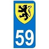 Autocollant 59 avec blason Nord-Pas-De-Calais plaque immatriculation Auto (9,8 x 4,5 cm)