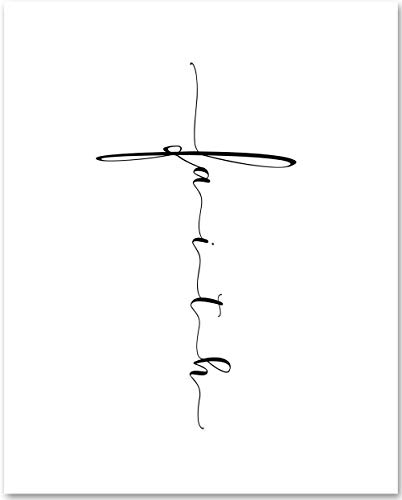 Faith - Cross - 11x14 Unframed Typography Art Print - Makes a Great Christian Gift Under $15