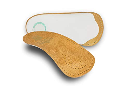 pedag HOLIDAY Orthotic Inserts | 3/4 Length, Thin Leather, Ultra Light, Semi-Rigid Shoe Insoles with Metatarsal Pad & Heel Cushion, Tan, US - Rigid Support