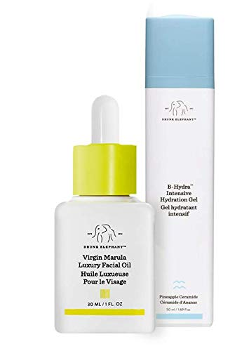 Drunk Elephant Full Sized Moisture Duo- Hydrating and Moisturizing Duo with B-Hydra Intensive Hydration Gel (50 ml) and Virgin Marula Luxury Facial Oil (30 ml)