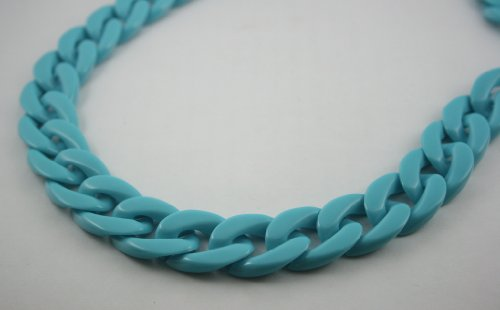 30 inch. Blue Chunky Chain Plastic Link Necklace Craft DIY Decorations Findings (Flat) (Big Size) ()