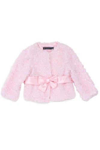 Kate Mack - Belle Epoque Girl's Poodle Jacket in Pink - Size 2T
