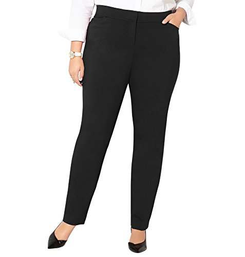 Avenue Women's Super Stretch Slim Leg Trouser with Comfort Waist (28-32), 32 Black