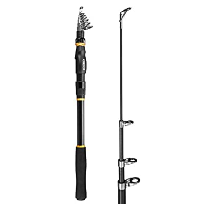 Enkeeo Fishing Rod Carbon Fiber Spinning Telescopic Fishing Pole Pocket Travel Rod 6/7/9/10 Feet for Saltwater Freshwater Inshore Offshore Outdoor by Enkeeo